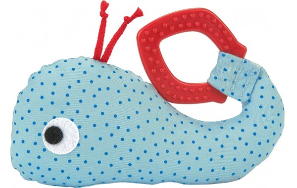 Toy whale rattle and teether