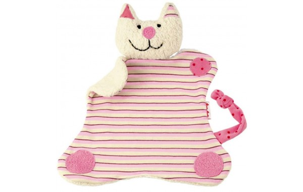 Organic pink stripe cat towel doll