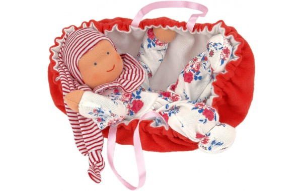 Organic baby doll Rosy with carrier