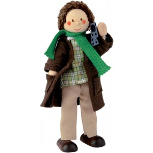 Father doll with coat and scarf