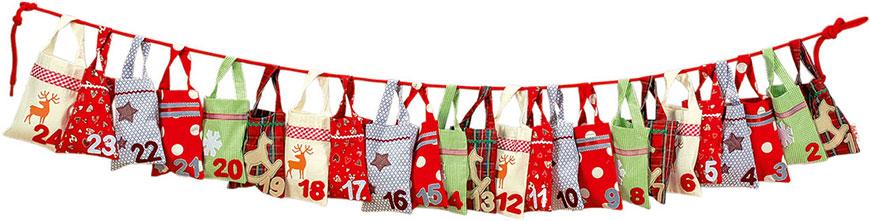 Season decorated sacks advent calendar