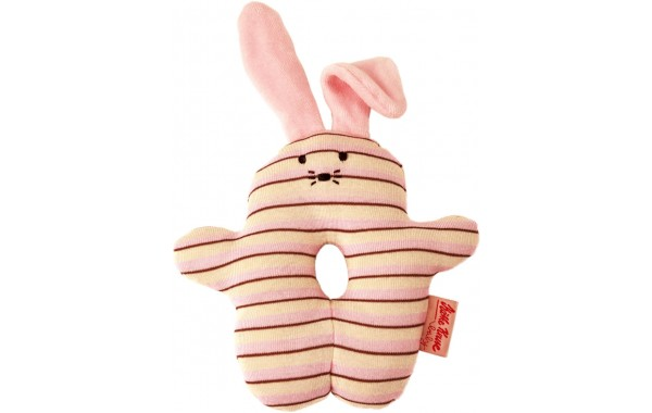 Organic pink bunny rattle