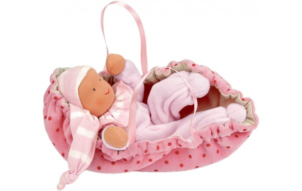 Organic pink baby doll with carrier