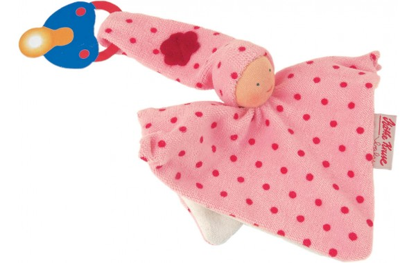 Organic pink pacifier towel doll