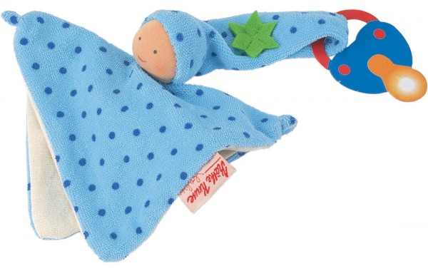 Organic blue pacifier towel doll