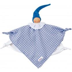Organic Waldorf blue plaid towel doll