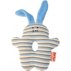 Organic blue bunny rattle