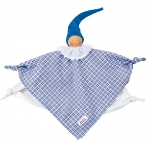 Organic Waldorf blue plaid towel doll