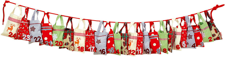 Season decorated sacks advent calendar