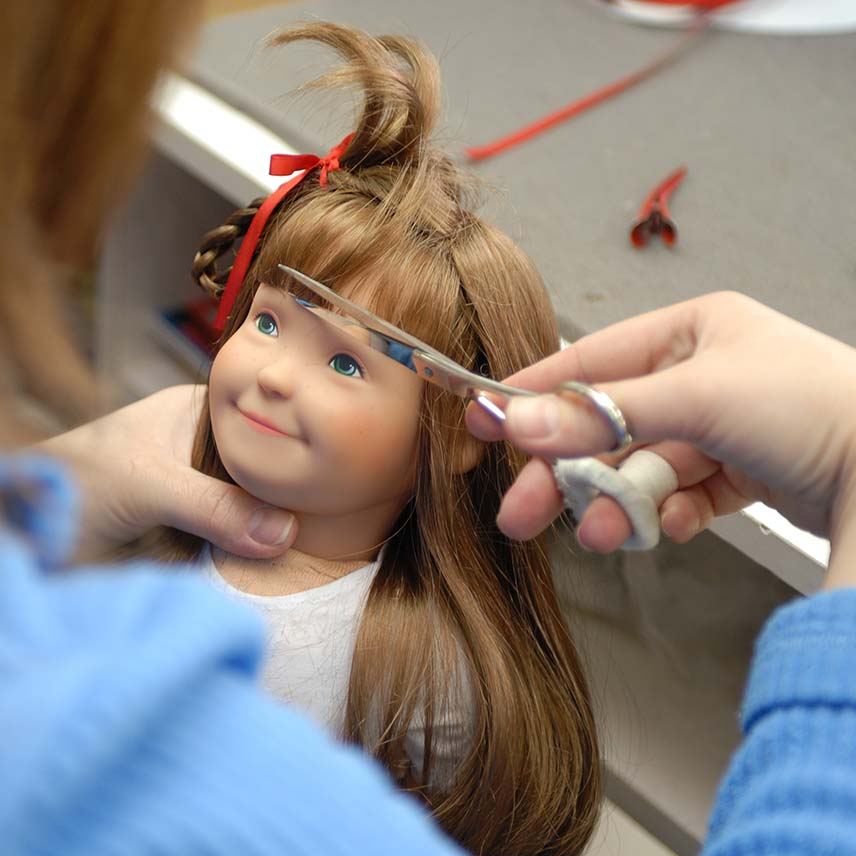 A Lolle doll gets a haircut and style
